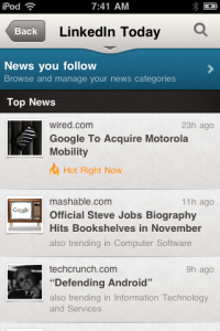 LinkedIn Today iPhone View
