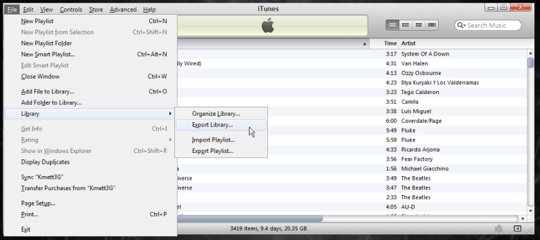 Apple Export Library File Menu