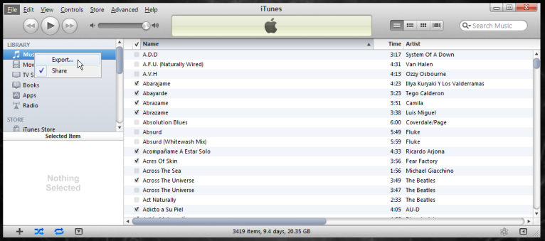 How to Export iTunes Library With Selected Data