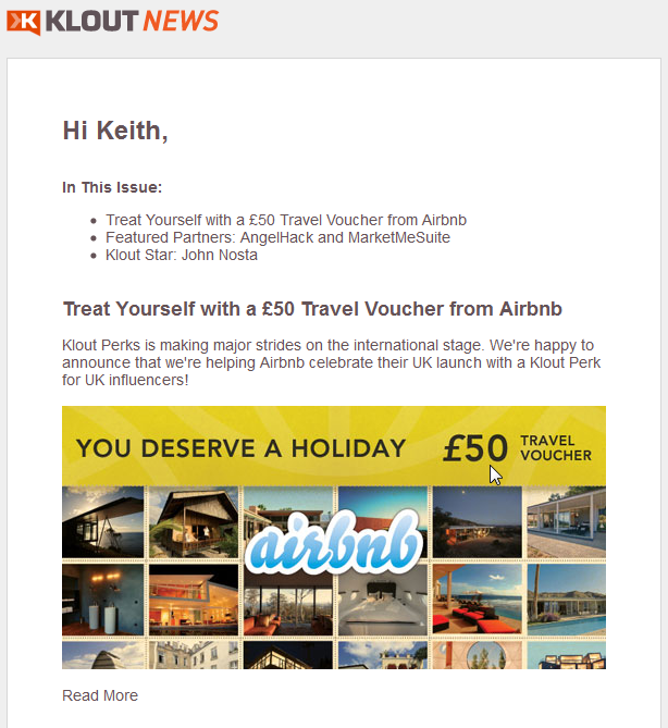 Klout News Offer - Doesn't have any meaning to me, personally.
