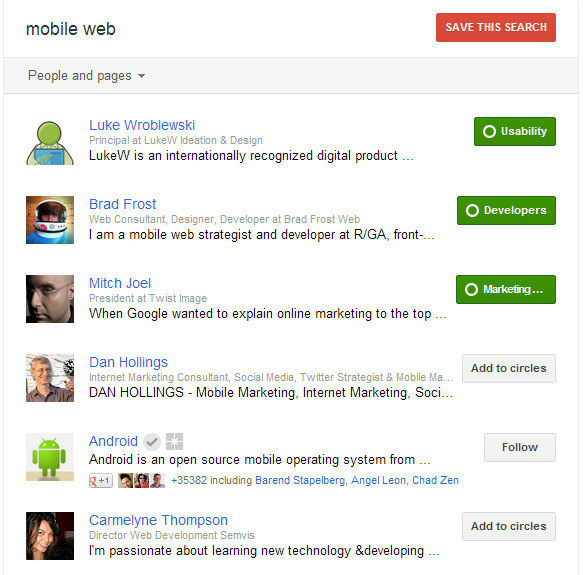 Google+ People and pages results