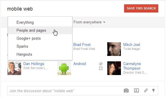Google+ filter search results