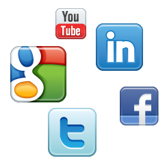 Social media icons: LinkedIn, YouTube, Google+, Twitter and Facebook