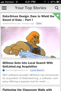 """News feed now lets you see if you have """"liked"""" the article."""