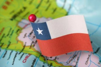 Chile flag on map