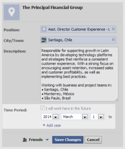 Facebook Job Position Interface